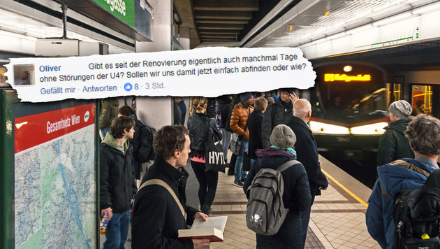 """Wiens U4 wieder """"gestört"""": Chaos und Wut am Morgen (Bild: Wiener Linien, facebook.com)"""