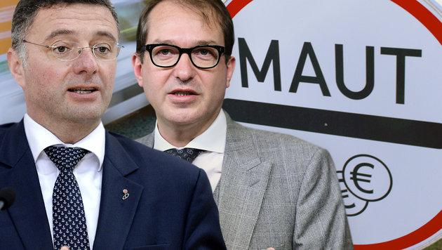 Auf Konfrontationskurs: Verkehrsminister Leichtfried (li.) und sein deutscher Amtskollege Dobrindt (Bild: APA/ROLAND SCHLAGER, APA/AFP/EMMANUEL DUNAND, dpa)