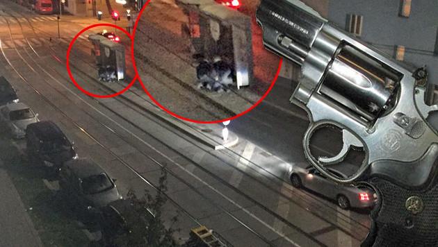 """Ein Zeuge hielt die Festnahme des Schützen durch die beiden Kripo-Männer auf einem Handyfoto fest. (Bild: """"Krone""""-Leserreporter, Polizei)"""