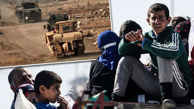 IS schickt Kinder in die Schlacht um Mossul (Bild: APA/AFP/AFPTV/ANDREA BERNARDI, APA/AFP/BULENT KILIC)