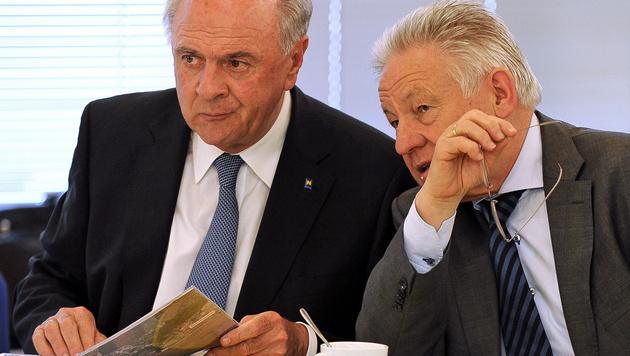 Stemmen sich gegen Stöger: Die Landeshauptleute Erwin Pröll (NÖ) und Josef Pühringer (OÖ) (Bild: APA/BARBARA GINDL)