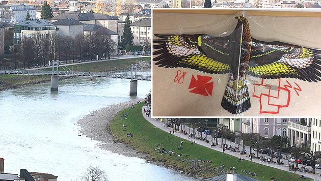 Vom Müllnersteg (li.) aus ließen die beiden 21-Jährigen ihren Drachen mit den NS-Symbolen steigen. (Bild: ANDREAS TRÖSTER, Polizei)