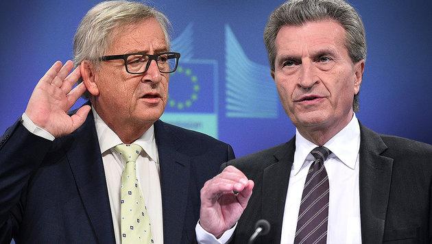 Maulkorb für Oettinger von Kommissionschef Juncker (Bild: APA/AFP/JOHN THYS, AFP/GEORGES GOBET)