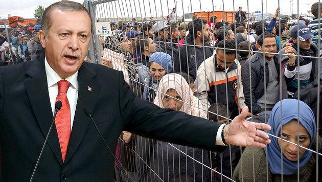Schickt uns Erdogan noch 500.000 Flüchtlinge? (Bild: AFP/ADEM ALTAN, AFP/JOE KLAMAR)