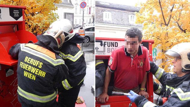 In Fundbox geklettert: Feuerwehr befreit Mann (Bild: APA/MA 68 LICHTBILDSTELLE)
