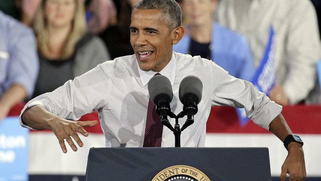 Noch-Präsident Barack Obama legte sich bis zuletzt für Clinton ins Zeug. (Bild: AP)