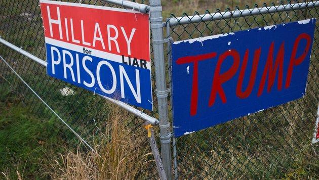 """""""Hillary ins Gefängnis, weil sie eine Lügnerin ist"""" (Bild: AFP)"""