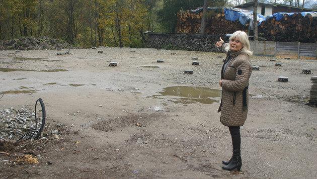 Christine Zangerl zeigt, wo das Tierschutzhaus in Holzbauweise hinkommt. (Bild: Claudia Fischer)