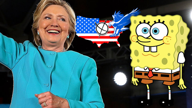 Clinton gewinnt im US-Kinderkanal deutlich (Bild: AFP/JUSTIN SULLIVAN, Wikipedia, krone.at-Grafik)