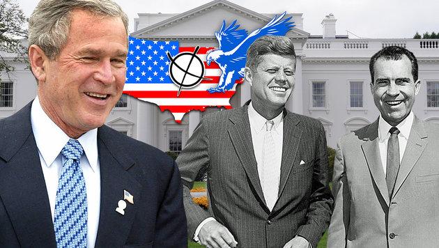 George W. Bush (li.) siegte im Jahr 2000, 1960 duellierten sich John F. Kennedy und Richard Nixon. (Bild: AFP/LUIS ACOSTA, kennedy.org, dpa/Rainer Jensen)