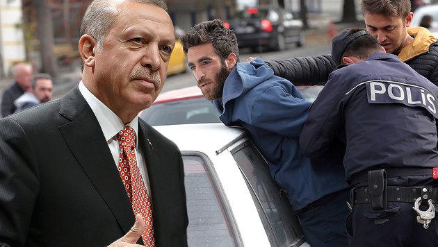 Der türkische Präsident Recep Tayyip Erdogan geht weiter hart gegen seine Gegner vor. (Bild: AP)