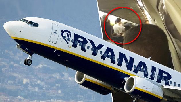 Schlägerei an Bord von Ryanair-Jet - Notlandung (Bild: AFP/Josep Lago, YouTube.com)