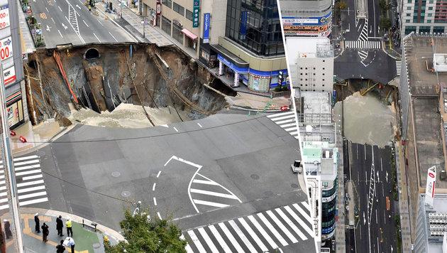 Japan: Riesen-Krater in Rekordzeit geschlossen (Bild: AP)