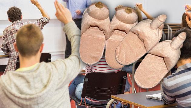 Mit diesen Hausschuhen soll ein Skandal an der Schule herbeigeredet werden. (Bild: thinkstockphotos.de)