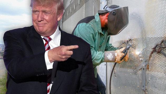 Trump treibt den Mauerbau an der Grenze zu Mexiko voran. (Bild: AFP/TIMOTHY A. CLARY, AFP/BILL WECHTER)