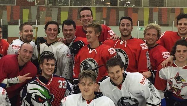 Justin Bieber hatte nach dem Konzert viel Spaß beim Eishockey. (Bild: Krone-Leserreporter)