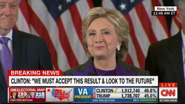 Hillary Clinton trat am Tag nach ihrer Niederlage vor die Kameras. (Bild: CNN.com)