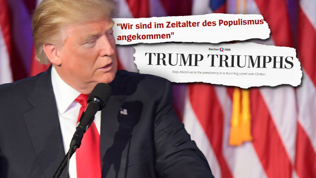 Das sagt die internationale Presse zu Trumps Sieg (Bild: Washington Post, AP, Spiegel.de)