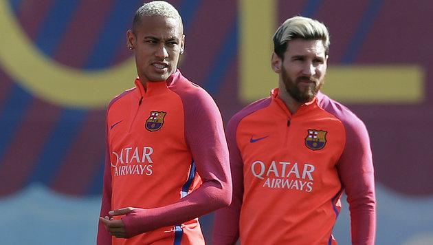 Neymar und Messi beim gemeinsamen Barcelona-Training (Bild: Associated Press)
