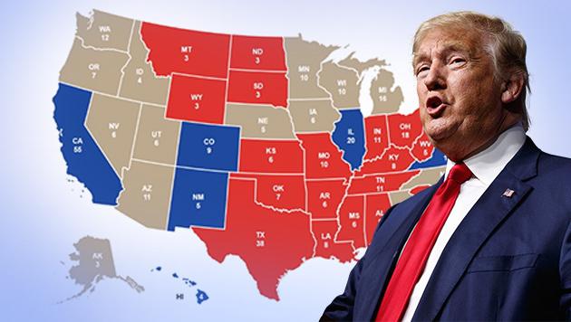 Videografik: So holte sich Donald Trump die USA (Bild: 270towin.com, krone.tv, AP)