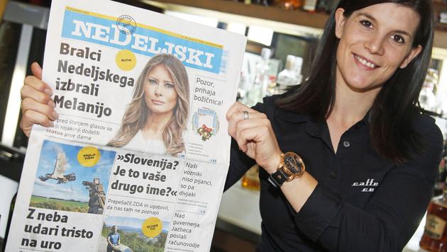 Kellnerin Ana freut sich: In Slowenien ziert die neue First Lady nun die Titelblätter. (Bild: Uta Rojsek-Wiedergut)