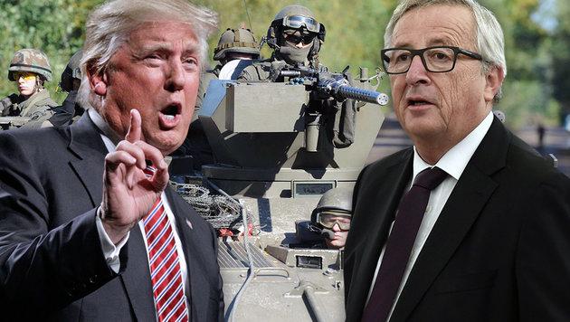 Kern und Doskozil lehnen europäische Armee ab (Bild: Bundesheer/Hartl, AP/Matt Rourke, APA/AFP/FREDERICK FLORIN)