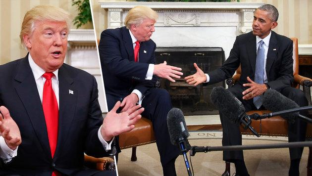 Donald Trump zu Gast bei Barack Obama im Weißen Haus (Bild: AP, AFP/JIM WATSON)