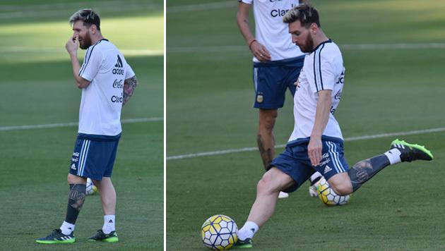 Lionel Messi zeigte im Training mit dem argentinischen Nationalteam erstmals sein neues Tattoo! (Bild: AFP)