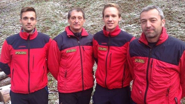 Vier der fünf Retter (v.l.n.r.): Arnold Kurt, Bernhard Magritzer, Roland Hufnagl und Michael Huber (Bild: Polizei)
