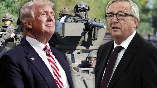 Donald Trump, Jean-Claude Juncker (Bild: Bundesheer/Hartl, AP/Matt Rourke, APA/AFP/FREDERICK FLORIN)