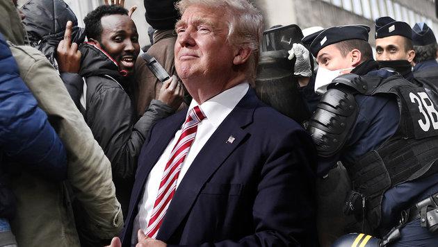 Der designierte US-Präsident Trump kündigt ein rigoroses Vorgehen gegen illegale Flüchtlinge an. (Bild: APA/AFP/LIONEL BONAVENTURE, AP/Matt Rourke)