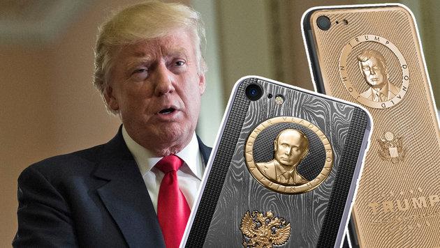 Russen feiern Trump und Putin mit goldenen iPhones (Bild: APA/AFP/NICHOLAS KAMM, Caviar Phone)