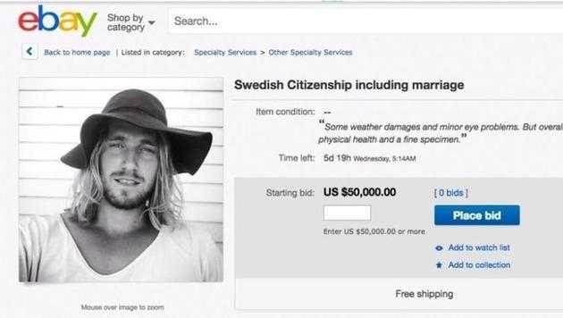 Schwede bietet für 50.000 Dollar Hochzeit an (Bild: Ebay)