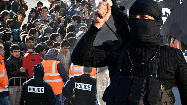 IS trainiert seine Kämpfer sogar für Asylverfahren (Bild: APA/AFP/PHILIPPE HUGUEN, EPA/MOHAMMED JALIL, thinkstockphotos.de)