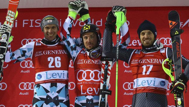 Michael Matt, Marcel Hirscher und Manfred Mölgg (von li. nach re.) (Bild: AP)