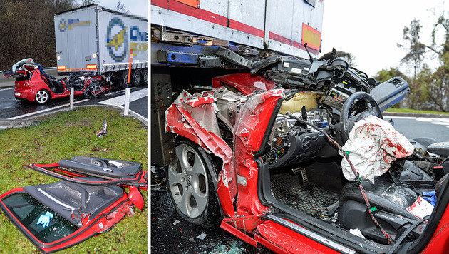 Pkw prallt auf Autobahn gegen Lkw: Beifahrer tot (Bild: zeitungsfoto.at)