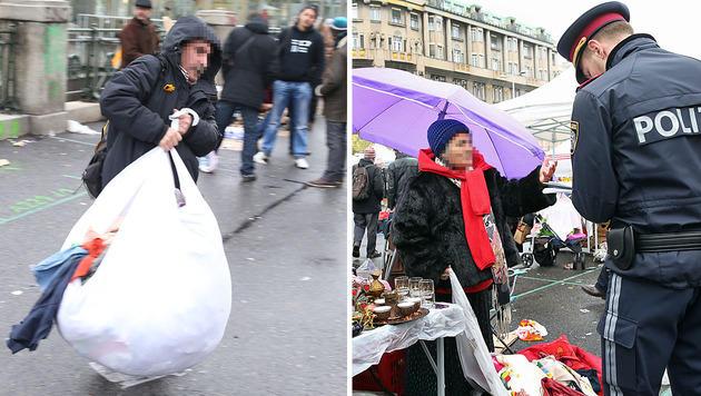 Razzia gegen illegale Händler am Wiener Naschmarkt (Bild: Zwefo)