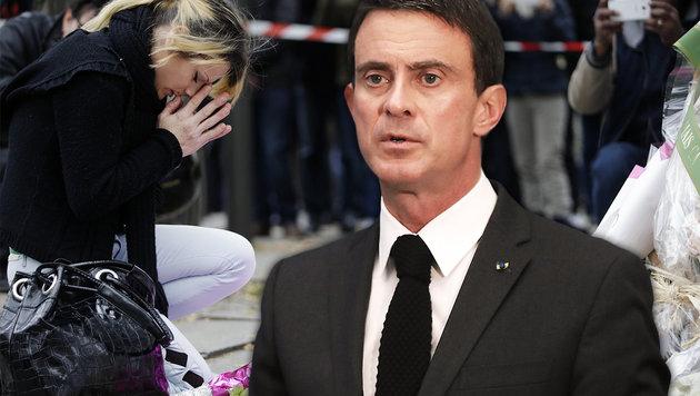 """Valls: """"Der Terrorismus wird uns wieder treffen"""" (Bild: APA/AFP/JACQUES DEMARTHON, APA/AFP/KENZO TRIBOUILLARD)"""