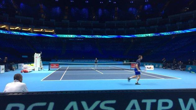 Beeindruckend! Dominic Thiem beim Training in der riesigen O2-Arena (Bild: sportkrone.at)
