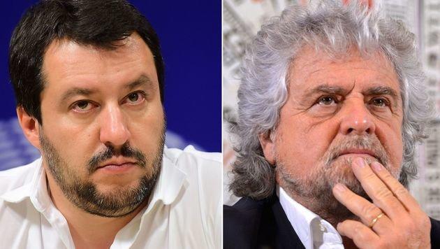 Matteo Salvini und Beppe Grillo (Bild: APA/AFP/ANDREAS)