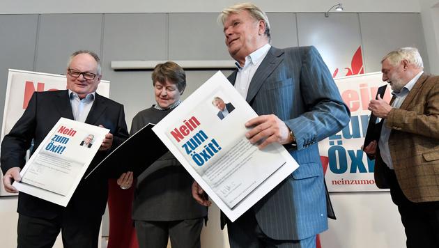 """""""Nein zum Öxit"""": Konrad, Ederer, Haselsteiner und Fischler (v.l.) (Bild: APA/HANS KLAUS TECHT)"""