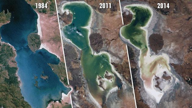 Satellitenaufnahmen zeigen, wie der See von 1984 bis 2014 geschrumpft ist. (Bild: NASA (Public Domain))