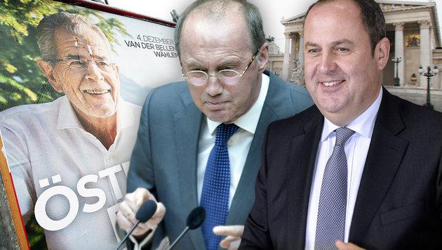 EU-Abgeordneter Othmar Karas und Ex-ÖVP-Chef Josef Pröll engagieren sich für Van der Bellen. (Bild: APA/GEORG HOCHMUTH, APA/HERBERT PFARRHOFER, APA/HERBERT NEUBAUER)