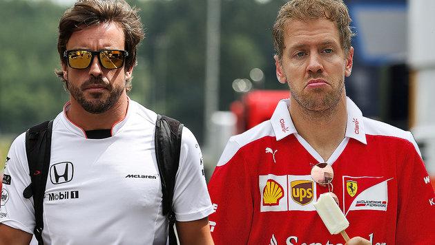 Nach Zweikampf: Alonso droht Vettel mit Crash (Bild: GEPA)