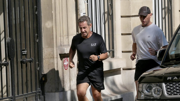 Nicolas Sarkozy bei einem Lauf in Paris (Bild: Visual Press Agency/face to face)