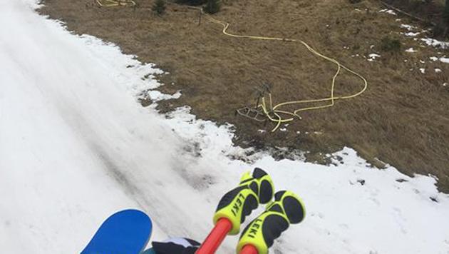 Ein Bild vom Training in Nakiska von Romed Baumann: Winter schaut anders aus. (Bild: Baumann)