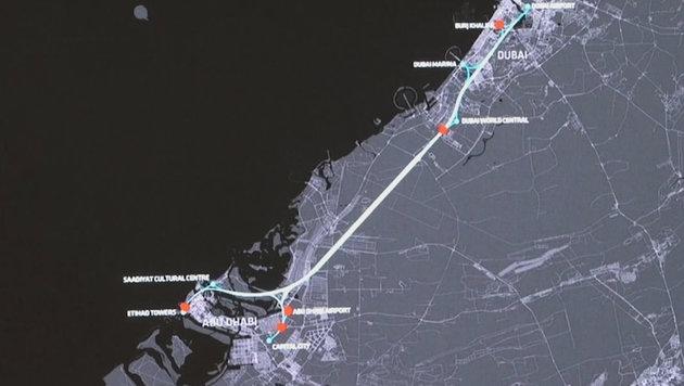 """Die geplante """"Hyperloop""""-Strecke zwischen Dubai und Abu Dhabi (Bild: YouTube.com)"""