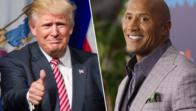 Donald Trump (l.), Dwayne Johnson (r.) (Bild: face to face, Viennareport)