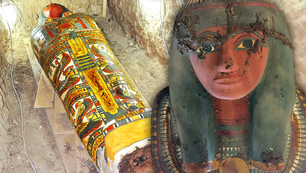 Farbenprächtiger Sarkophag mit Mumie entdeckt (Bild: APA/AFP/Egyptian Antiquities Ministry/Stringer)