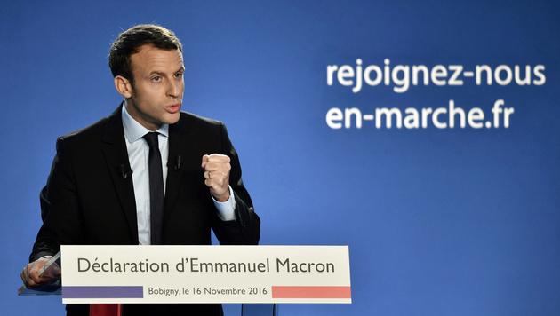 Frankreichs Jungstar Macron will Präsident werden (Bild: APA/AFP/PHILIPPE LOPEZ)